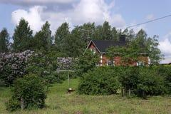 Paisagem rural com a casa de madeira em Finlandia Fotos de Stock Royalty Free
