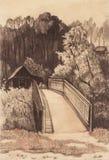 Paisagem rural com casa e a ponte velhas. ilustração stock