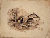 Paisagem rural com casa velha. ilustração stock