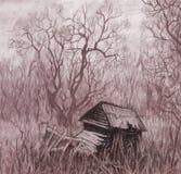 Paisagem rural com casa velha. ilustração do vetor