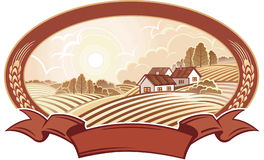 Paisagem rural com casas. Monocromático. Fotos de Stock Royalty Free
