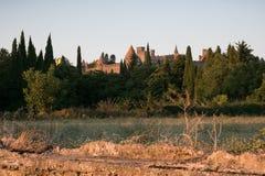 Paisagem rural com a citadela de carcassonne na distância em sóis Imagem de Stock Royalty Free