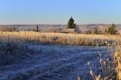 Paisagem rural com geada do outono foto de stock