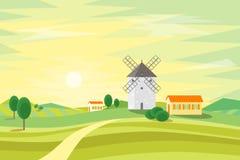 Paisagem rural com o moinho de vento velho tradicional Vetor ilustração do vetor