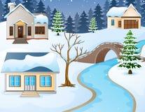 Paisagem rural do inverno dos desenhos animados com casas e a ponte de pedra sobre o rio Fotos de Stock Royalty Free