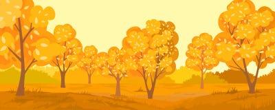 Paisagem rural do outono Floresta outonal ilustração do vetor