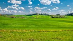 Paisagem rural do verão campo montanhoso agrícola com uma aldeola pequena, coberta com a grama verde sob um céu nebuloso azul fotografia de stock