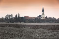 Paisagem rural em uma manhã gelado, Pfalz, Jockgrim, Alemanha foto de stock royalty free