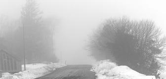 Paisagem rural nevoenta do inverno com estrada, neve e árvores do cascalho fotografia de stock