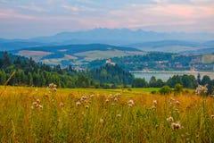 Paisagem rural perto do lago artificial Czorsztynskie no Polônia do sul Montanhas altas de Tatra no fundo imagens de stock