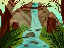 Paisagem selvagem cênico com árvores e cachoeira ilustração stock