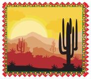 Paisagem selvagem da natureza do deserto com cacto Imagem de Stock