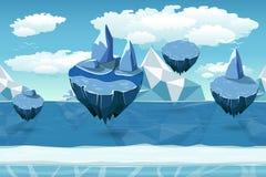 Paisagem sem emenda ártica dos desenhos animados, teste padrão infinito com iceberg e ilhas da neve ilustração do vetor