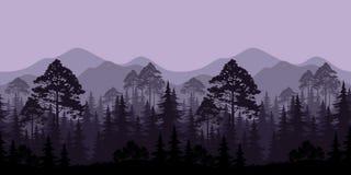 Paisagem sem emenda, árvores e silhuetas da montanha Foto de Stock Royalty Free