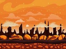 Paisagem sem emenda da natureza da montanha dos desenhos animados, fundo infinito com solo, pedras em um fundo das montanhas e Imagens de Stock