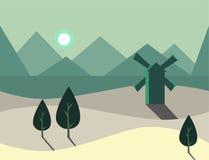 Paisagem sem emenda da natureza dos desenhos animados com moinho de vento, ilustração do vetor Fotos de Stock Royalty Free