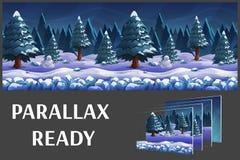 A paisagem sem emenda do inverno da natureza dos desenhos animados, vector o fundo infinito com camadas separadas Imagens de Stock Royalty Free