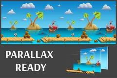 A paisagem sem emenda do mar dos desenhos animados, vector o fundo infinito com camadas separadas Foto de Stock
