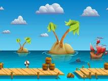 A paisagem sem emenda do mar dos desenhos animados, vector o fundo infinito com camadas separadas Foto de Stock Royalty Free