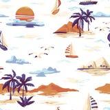 A paisagem sem emenda do teste padrão da ilha do vintage com palmeiras, o iate, a praia e o oceano entregam o estilo tirado ilustração royalty free