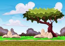 Paisagem sem emenda do vetor dos desenhos animados com camadas separadas Imagem de Stock