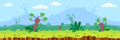 Paisagem sem emenda dos desenhos animados Imagem de Stock Royalty Free