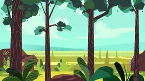 A paisagem sem emenda dos desenhos animados bonitos com camadas separadas, a ilustração do dia de verão, ajustes em dispositivos  Imagens de Stock Royalty Free