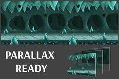 A paisagem subterrânea dos desenhos animados sem emenda, vector o fundo infinito com camadas separadas Foto de Stock Royalty Free