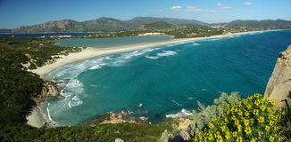 Paisagem surpreendente na praia de Villasimius Foto de Stock Royalty Free