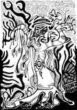 Paisagem surreal preto e branco Floresta estrangeira da fantasia, isolado ilustração royalty free