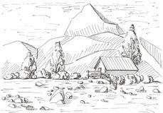 Paisagem tirada mão da montanha Casa em um fundo das montanhas Ilustração do vetor de um estilo do esboço ilustração stock