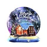 Paisagem tirada mão da noite do inverno da aquarela com casa ilustração royalty free