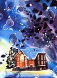 Paisagem tirada mão da noite do inverno da aquarela com casa ilustração do vetor