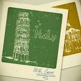 Paisagem tirada mão de Itália no estilo do vintage ilustração royalty free
