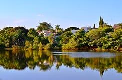 Paisagem tropical com árvores, lago, o céu azul e a reflexão na água Foto de Stock