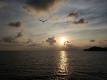 paisagem tropical com reflexão do sol no mar, na área costal de Acapulco, México imagem de stock