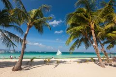 Paisagem tropical da ilha de Boracay, Filipinas Fotografia de Stock