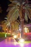 Paisagem tropical Trajetos de passeio com iluminação da noite no hotel do território Imagens de Stock Royalty Free