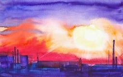 A paisagem urbana da área industrial da cidade com as tubulações das fábricas que poluem o ambiente watercolor ilustração stock