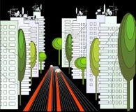 Paisagem urbana da noite Ilustração Stock