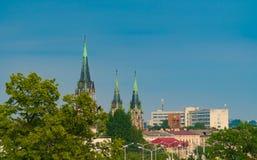 Paisagem urbana de Lvov, na névoa, assoalho da poluição, estrada, vazia, rua, quadrado, exterior, panorama, Imagem de Stock