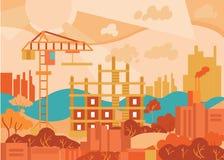 Paisagem urbana do projeto liso Cidade moderna abstrata Fotografia de Stock