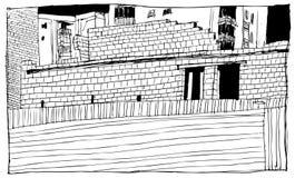 Paisagem urbana Gráficos preto e branco, você pode usar-se como um fundo ou alimentar um artigo ilustração stock