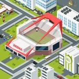 Paisagem urbana isométrica com construção moderna do estádio Fotos de Stock Royalty Free