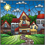 Paisagem urbana, telhados e árvores da ilustração do vitral contra o céu e o sol do dia Imagem de Stock Royalty Free