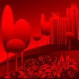 Paisagem urbana vermelha do vetor Ilustração Royalty Free