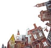 Paisagem velha da cidade ou da vila ilustração do vetor