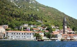 Paisagem velha da cidade, Perast, baía de Kotor, Montenegro Fotografia de Stock