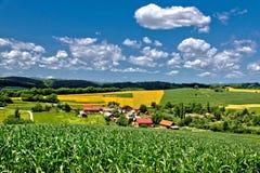 Paisagem verde bonita do cenário da vila no tempo de mola III Imagens de Stock