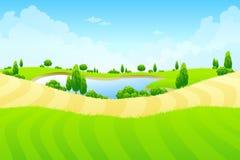 Paisagem verde com lago Fotos de Stock